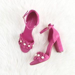 """MarcFisher """"Queenie"""" Pink Suede Pearl Ruffle Heels"""